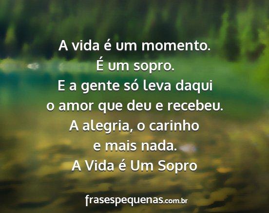 A Vida é Um Momento é Um Sopro E A Gente Só
