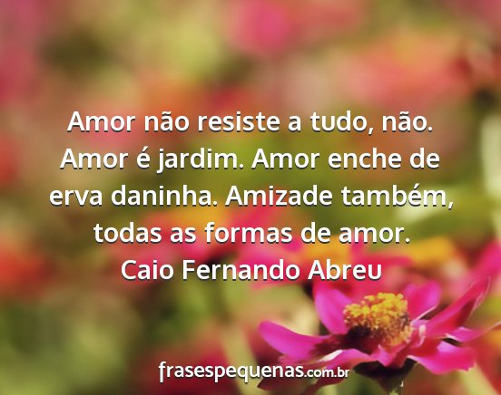 Amor Não Resiste A Tudo Não Amor é Jardim