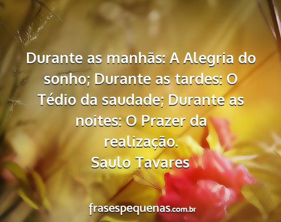 Saulo tavares - durante as manhãs: a alegria do sonho; durante...